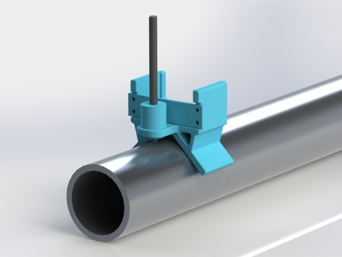 SolidWorks Rendering of the Punch on a Pipe