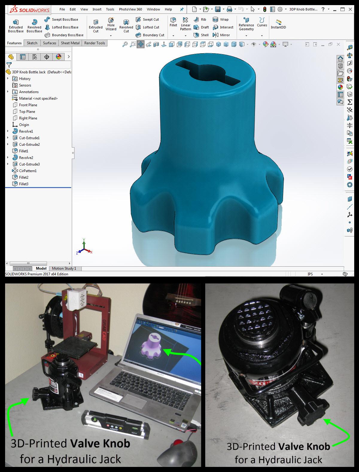 3d printed low profile jack knob 3d printed hydraulic jack knob ctm projects
